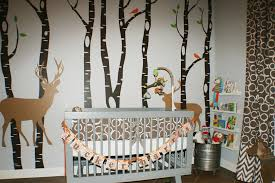 Baby Deer Crib Bedding Baby Nursery Baby Room Decoration With Brown Wooden Crib And