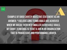 what are your career objectives youtube