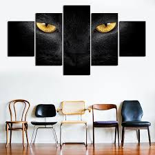 Home Interiors And Gifts Framed Art Free Shipping 5 Panel Modern Black Cat Print Painting Canvas