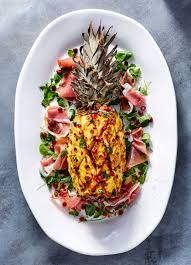 recipe for thanksgiving ham with pineapple ham cured pineapple with prosciutto and pomegranate recipe myrecipes