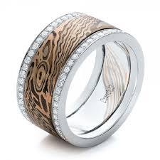 custom mens wedding bands custom men s diamond and mokume wedding band 102012
