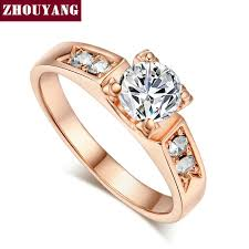 wedding rings setting images Zhouyang classical 6mm prong setting wedding ring real rose gold jpg