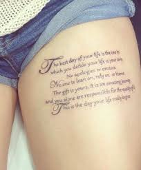 best tattoo quotes tumblr 大腿上漂亮的小清新英文字母纹身 quote thigh tattoos tumblr