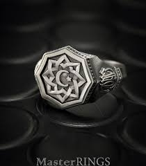 silver ring for men islam crescent and silver ring signet ring men muslim ring