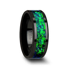 blue green opal amazon com photon tungsten carbide wedding ring with emerald