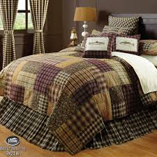 brown log cabin fish lodge twin queen cal king quilt bedding set