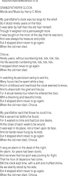 grandfather s old time song lyrics for 23 grandfathers clock