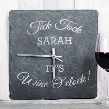 personalised square slate clock wine o u0027clock gettingpersonal co uk