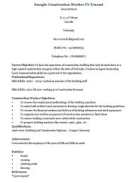 Foreman Resume Example by Construction Worker Resume Warehouse Resume Templates Template