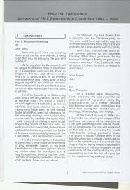 Question And Answer Essay Format Model Answers For Psle Booklet 2005 U2013 2009 Situational Writing And