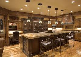 Kitchen Hanging Lights Rustic Kitchen With Clasical Pendant Lights Beautiful Color