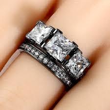 vancaro wedding rings black three princess cut women s wedding ring set with white