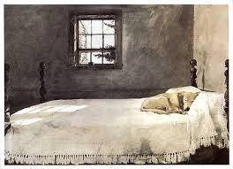 vintage master bedroom by andrew wyeth dog sleeping on bed framed