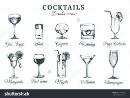 cocktail sketch hand sketched cocktails glasses vector set of alcoholic drinks