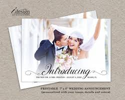 wedding announcement cards photo wedding announcement card diy printable calligraphy