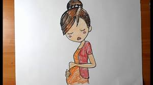 how to draw a pregnant woman cartoon yzarts youtube