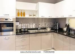 black kitchen furniture modern kitchen furniture contemporary kitchenware like stock photo