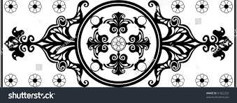 black white nouveau ornament stock illustration 61822252