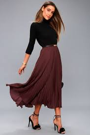 pleated skirts chic plum purple skirt pleated skirt midi skirt
