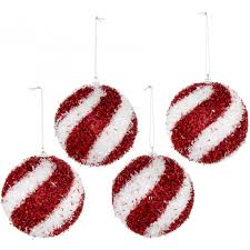 100mm fuzzy tinsel ornament box of 4 white swirl