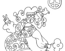 hippie coloring book etsy