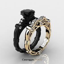 yellow gold wedding rings caravaggio 14k black and yellow gold 1 25 ct princess black and