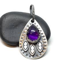 amethyst and sterling teardrop pendant marcybell online store