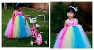 newest rainbow flower tutu dress tulle girls costumes easter
