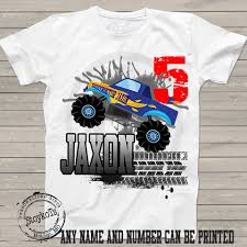 monster truck birthday shirt kids party personalized 5th