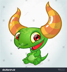 cute green cartoon monster dragon horns stock vector 360691238