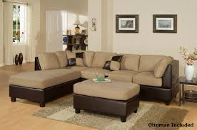 Sectional Or Two Sofas Brown Leather Sectional Sofa And Ottoman A Sofa