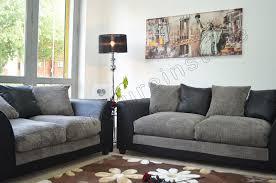 Black Fabric Sofa Jumbo Cord Black U0026 Grey Fabric Sofas 3 2 Seater Sofa Dylan