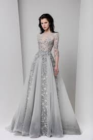 embroidered long sleeve grey undertone wedding dress paolo