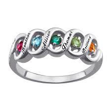 birthstone ring sterling silver ribbon family name birthstone ring 17804