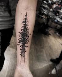 left forearm grey ink tree