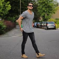 light tan suede chelsea boots how to wear tan suede chelsea boots with a grey crew neck t shirt