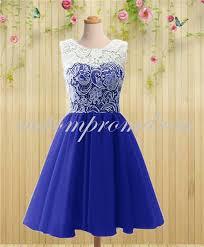 royal blue short prom dress white ivory lace prom dress