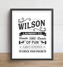 Retro Laundry Room Decor by Personalized Laundry Print Laundry Room Art Vintage Laundry