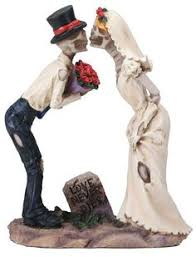 skeleton wedding cake toppers never dies skulls out wedding cake topper this