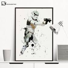 chambre wars decor aquarelle stormtrooper minimaliste toile affiche peinture