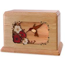 companion cremation urn with hummingbird flowers 3d wood inlay