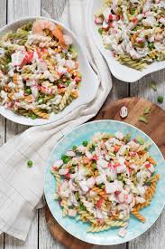pasta salad with mayo seafood pasta salad recipe w crab meat shrimp