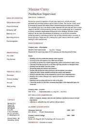 Nanny Job Description On Resume by Production Supervisor Resume Sample Example Template Job