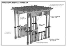 grape vine entrance arbor with gates u0026 balustrade v3 full