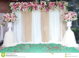 wedding backdrop backdrop flowers arrangement for wedding ceremony stock photo