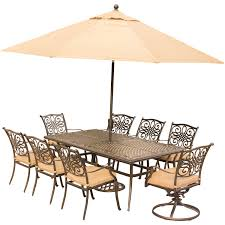 traditions 9 piece dining set in tan with extra long cast top