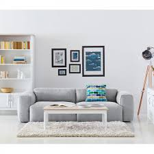 couch 3 sitzer sofa hudson ii 3 sitzer webstoff stoff milan hellgrau