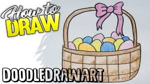 drawing how to draw and easter basket with eggs step by step