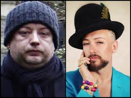 boy george juicing and raw food before and after picture