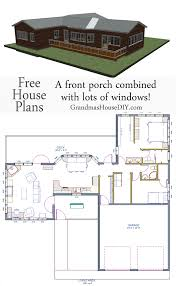 free house plan one story with a screened in front porch
